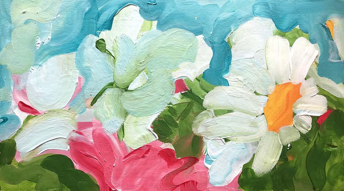 Bloom 35x20cm acryl op paneel